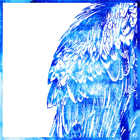 watercolor animal background in a blue color, wing of bird, vector illustration Vector
