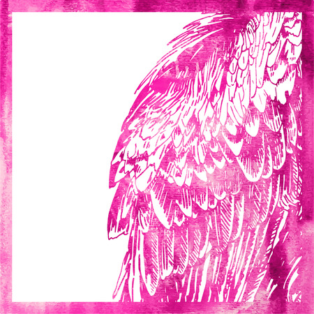 watercolor animal background in pink color, wing of bird, vector illustration Vector