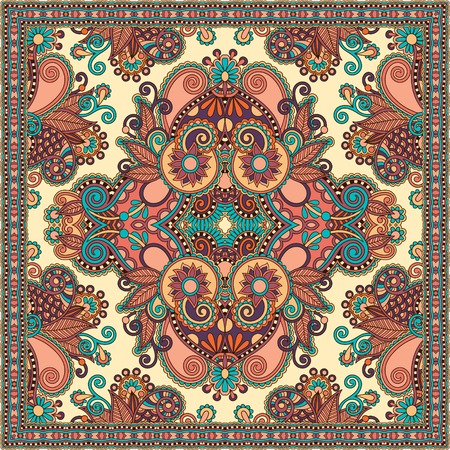 Traditional ornamental floral paisley bandanna.  Illustration