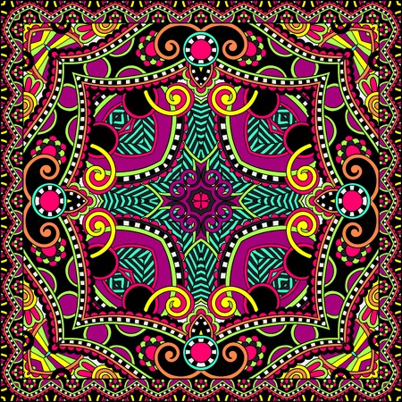 Traditional ornamental floral paisley bandanna. You can use this pattern in the design of carpet shawl pillow cushion Vector