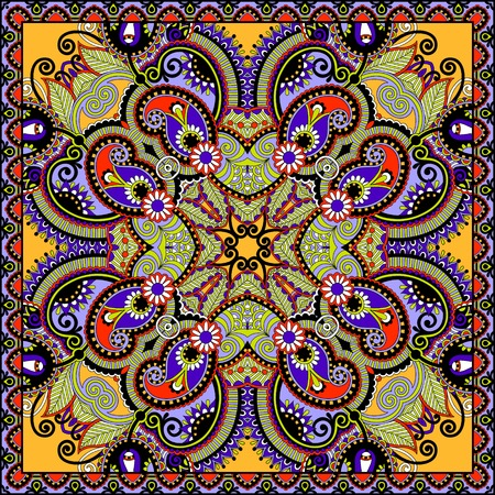 textile design: Traditional ornamental floral paisley bandanna. Illustration