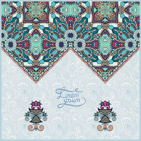 greeting card background: oriental decorative template for greeting card or wedding  invitation in a folk style