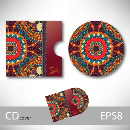 CD cover design template with ukrainian ethnic style ornament