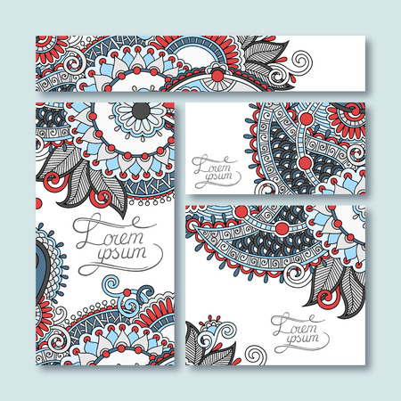 collection of decorative floral greeting cards in vintage style, ethnic pattern, illustration Vector