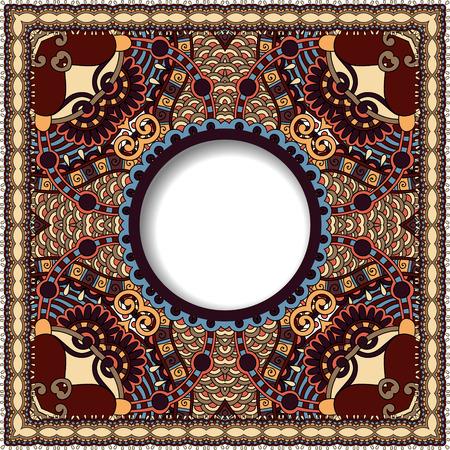decoratief patroon van Oekraïense etnische tapijt ontwerp met plaats voor uw tekst, abstracte tribale frame grens, illustratie