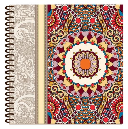 design of spiral ornamental notebook cover. Vector