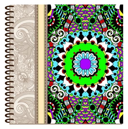 notebook cover: design of spiral ornamental notebook cover. Illustration