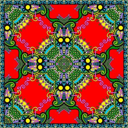 you can: Tradicional ornamental floral pañuelo de Paisley. Puede utilizar este patrón en el diseño de la alfombra, manta, almohada, cojín Vectores