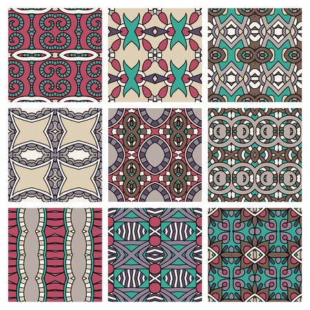 set of different seamless colored vintage geometric pattern, texture for wallpaper, web page background, fabric and wrapping paper design Vector