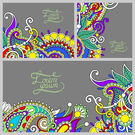 set of floral decorative background, template frame design for card, brochure, book, business card, postcard, wedding invitation, banner Vector