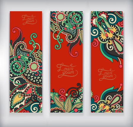 set of decorative flower template banner, card, web design with place for your text, vector illustration Vector