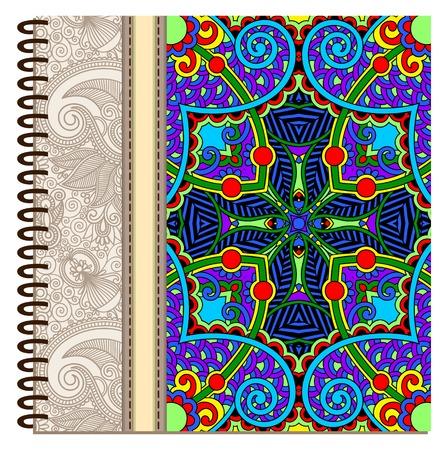 spiral notebook: design of spiral ornamental notebook cover, vector illustration Illustration