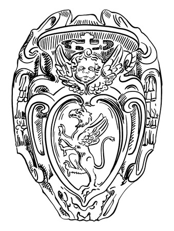 Griffin heraldry coat of arms, old historical heraldic design of building in Roma, Italy, drawn by me, vintage vector illustration Vector