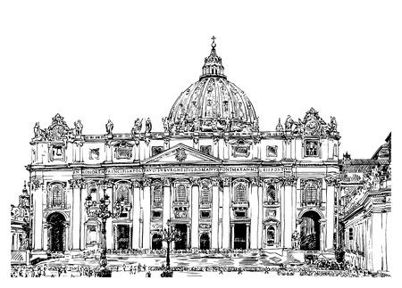 サンピエトロ大聖堂の大聖堂、ローマ、バチカン市国、イタリア。白い背景で隔離の手の図面。サン ・ ピエトロ大聖堂、ベクトル イラスト  イラスト・ベクター素材