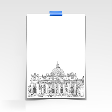 landscape architecture: paper sheet with a picture of St. Peters Cathedral, Rome, Vatican, Italy. Hand drawing isolated on white background. Saint Pietro Basilica, vector illustration