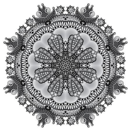 grey rug: grey circular decorative geometric pattern for yoga fashion design, mandala ornament, oriental rug napkin, round lace wallpaper