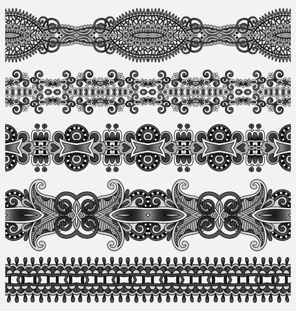 strap: grey collection of seamless ornamental floral stripes, black and white collection Illustration