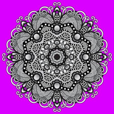 oriental rug: grey circular decorative geometric pattern for yoga fashion design, mandala ornament, oriental rug napkin, round lace wallpaper