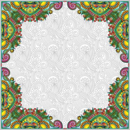 floral vintage frame, ukrainian ethnic style, vector illustration Illustration