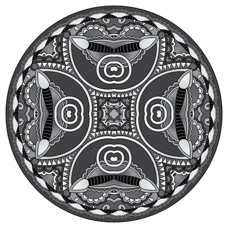 grey decorative design of circle dish template, round geometric pattern, black and white collection, vector illustration Illustration