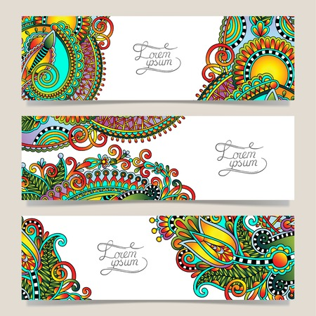 Set of three horizontal banners with decorative ornamental flowers, floral pattern in oriental style, paisley background, vector illustration