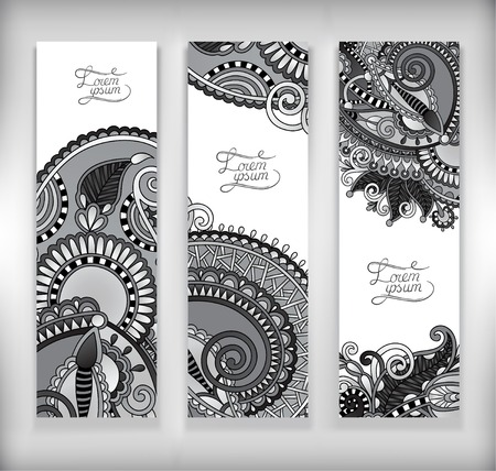 set of grey decorative flower template banner, card, web design with place for your text, black and white collection, vector illustration Vector
