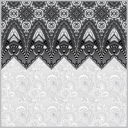 grey moroccan template with place for your text, you can be used for invitation card, postcard, web design, decoration for bag, clothes, fabric design, black and white collection, vector illustration Vector