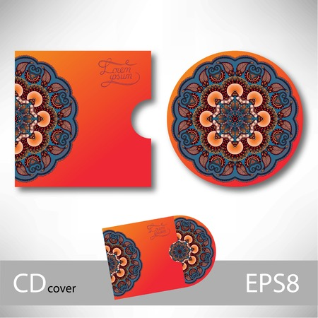 cd cover: CD cover design template with Ukrainian ethnic style ornament for your business, paisley pattern, vector illustration