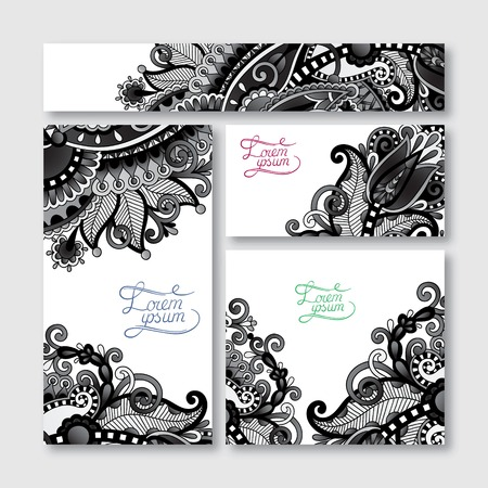 grey set of decorative floral greeting cards in vintage style, ethnic pattern, black and white collection, vector illustration Vector