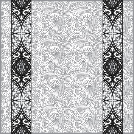 grey lace border stripe in ornate floral background, black and white collection, vector illustration Vector
