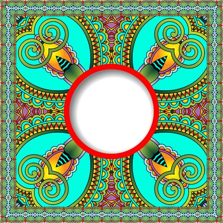 tapis: decorative pattern of ukrainian ethnic carpet design with place for your text, abstract tribal frame border, vector illustration