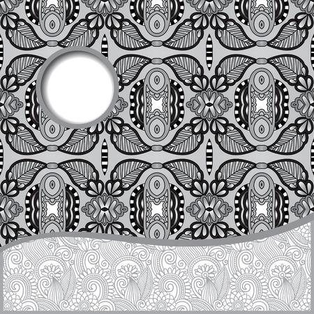 grey geometric tribal pattern with place for your text and company name, ornate oriental ethnic style, decorative retro banner,black and white collection, vector illustration Vector