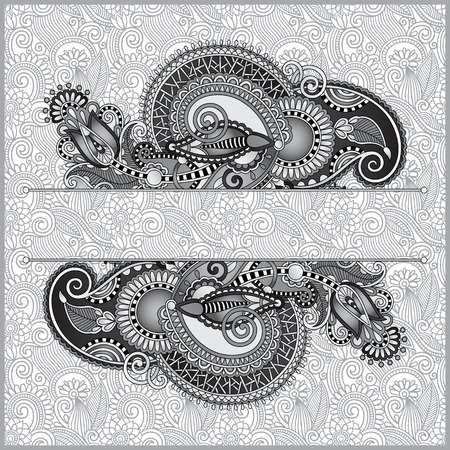 grey oriental decorative template for greeting card or wedding invitation in a folk style, you can place your text in the empty place, black and white Vector