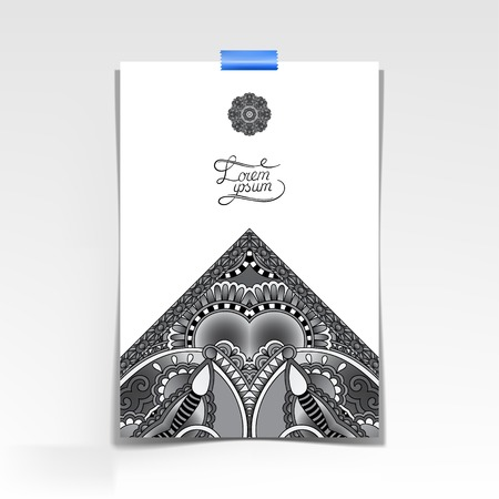 grey decorative sheet of paper with oriental floral design and place for your text, black and white vector illustration Vector