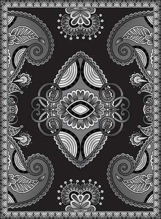 Grey Ukrainian Oriental Floral Ornamental Carpet Design, black and white vector illustration Vector