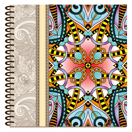spiral notebook: design of spiral ornamental notebook cover, vector illustration Illustration