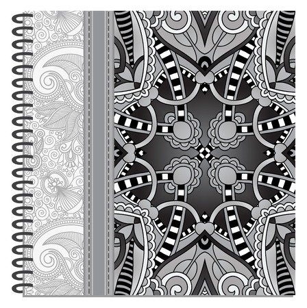 grey design of spiral ornamental notebook cover, black and white vector illustration Vector