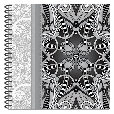 spiral notebook: grey design of spiral ornamental notebook cover, black and white vector illustration