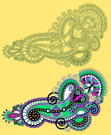 ukrainian: original hand draw line art ornate flower design. Ukrainian traditional style, vector illustration