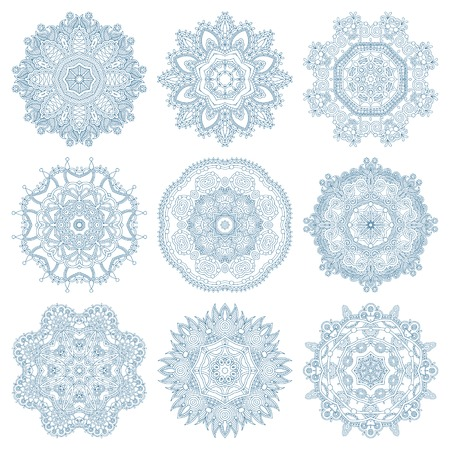 snow crystal: set of circle winter ornament, round geometric pattern, christmas snowflake decoration Illustration