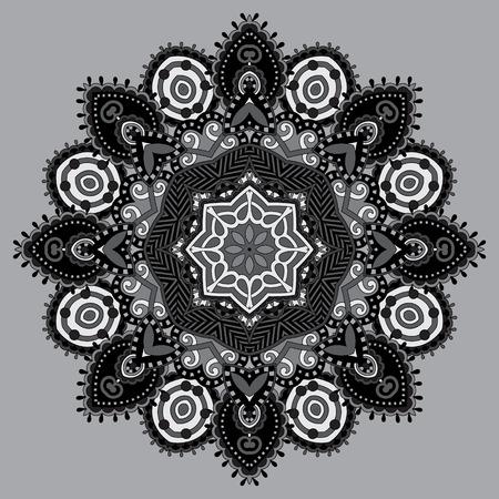 grey circular decorative geometric pattern for yoga fashion design, mandala ornament, oriental rug napkin, round lace wallpaper, vector illustration Vector