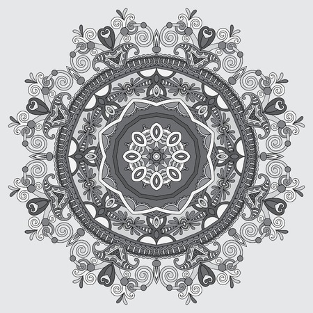oriental rug: grey circular decorative geometric pattern for yoga fashion design, mandala ornament, oriental rug napkin, round lace wallpaper, vector illustration