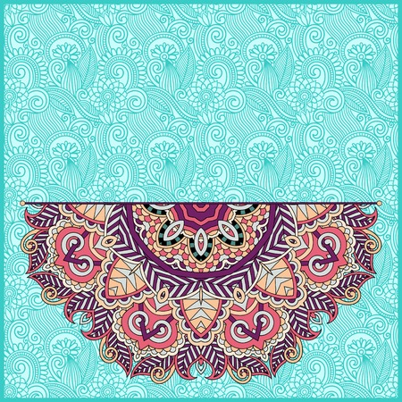 floral round pattern in ukrainian oriental ethnic style for your greeting card or invitation, template frame design for card, vintage lace doily, vector illustration Vector