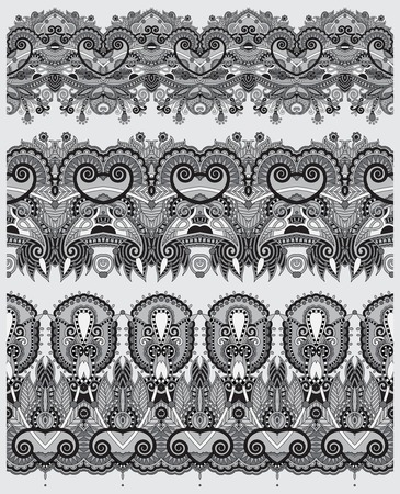 grey collection of seamless ornamental floral stripes, black and white collection Vector