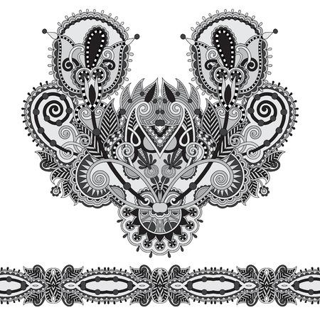 neckline: Neckline grey embroidery fashion, black  and white collection Illustration