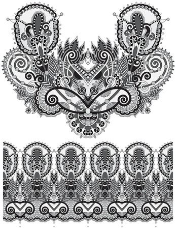 Neckline grey embroidery fashion, black and white  collection Vector