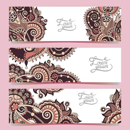 batik: Ensemble de trois bannières horizontales avec des fleurs décoratives d'ornement, motif floral dans le style oriental, fond paisley, illustration vectorielle Illustration