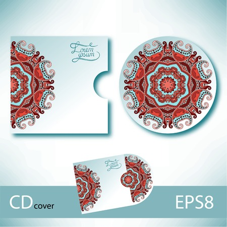 dvd cover: CD cover design template with ukrainian ethnic style ornament for your business, paisley pattern, vector illustration