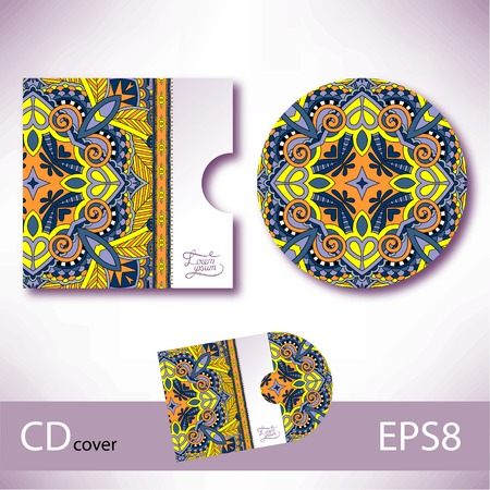 CD cover design template with ukrainian ethnic style ornament for your business, paisley pattern, vector illustration