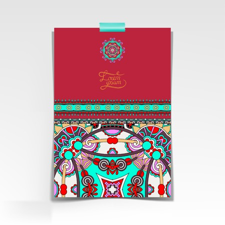 decorative sheet of paper with oriental floral design and place for your text, vector illustration Vector